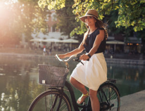 Woman on a bike in France