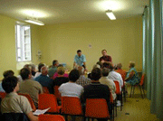 A meeting in a community hall