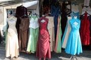 dresses at Bourganeuf market