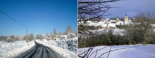 Snow on the Limousin countryside