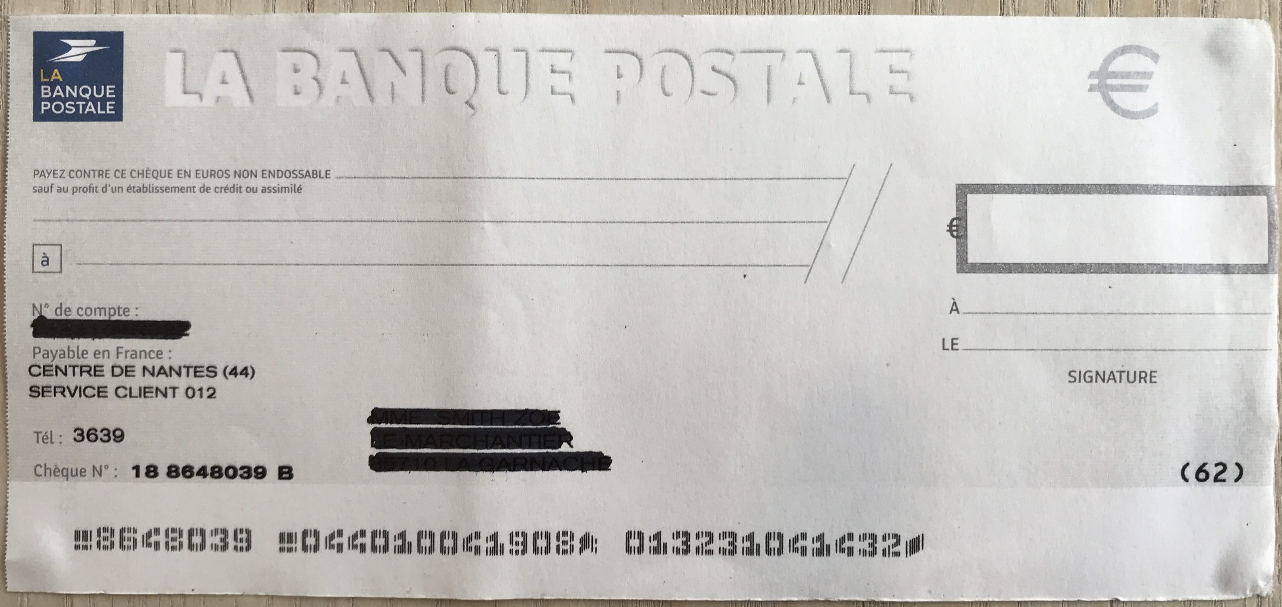 blank French cheque