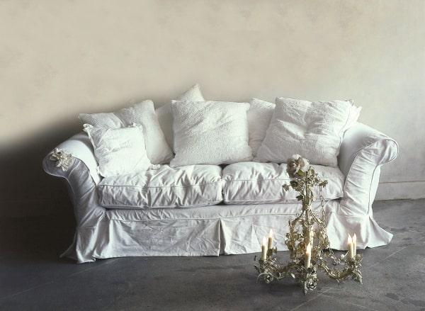 3 seater white fabric sofa