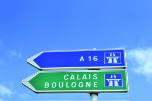 French Road Sign Pointing to Calais and Boulogne (Channel Ports)