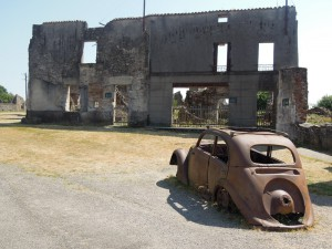 The remains of the car of Doctor Desourteaux (a Peugeot model 202)
