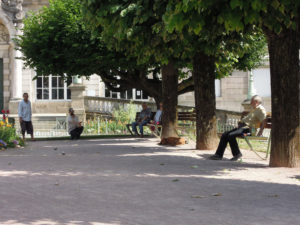 A game of boules next to the town hall in Limoges