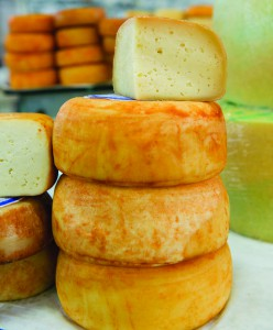 Cheese piled high on a market stall