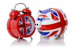 Clock and piggy bank with union jack design