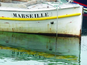 Fishing boat in the tiny harbour at Vallon des Auffes