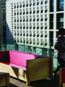 A lovely open air terrace provides a place to relax at the New Frac Contemporary Art Gallery