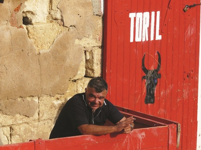 A local watches as the raseteurs go to work in the arena