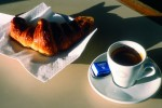 French coffee and croissant