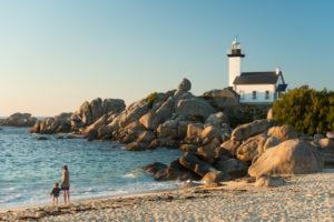 Beautiful Brittany: Brignogan-Beaches, Lighthouse Pontusval on the point of Beg-Pol