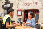 Enjoying a crêpe in Brittany