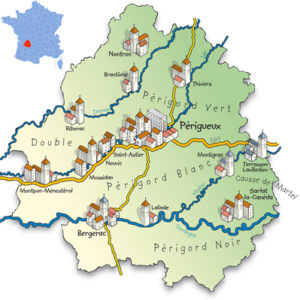 Map of Perigord in Dordogne