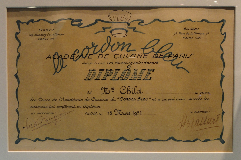 Julia Child Cordon Bleu Diploma ©National Museum of American History