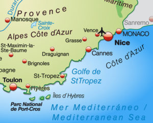 Map of Cote d'Azur
