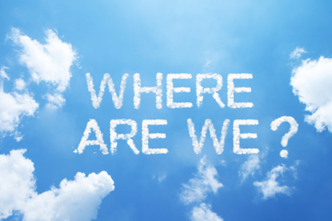 """""""Where are we?"""" cloud word on sky."""