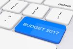 Blue Budget 2017 Key on White PC Keyboard. 3d Rendering