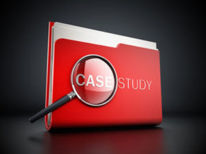 red case study folder with magnifying glass