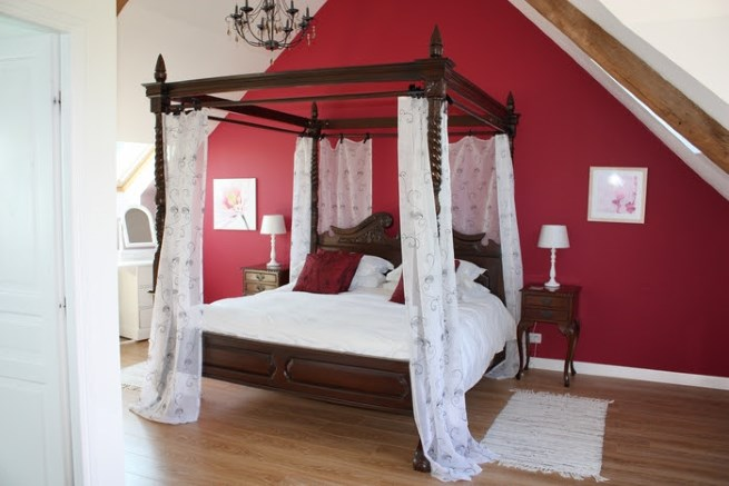 luxurious 4-poster master bedroom suite in le grand camus, brittany