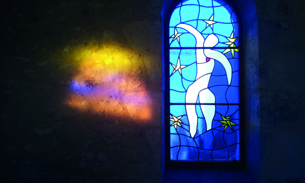 Stained glass window in the newly renovated property in France, La Chapelle