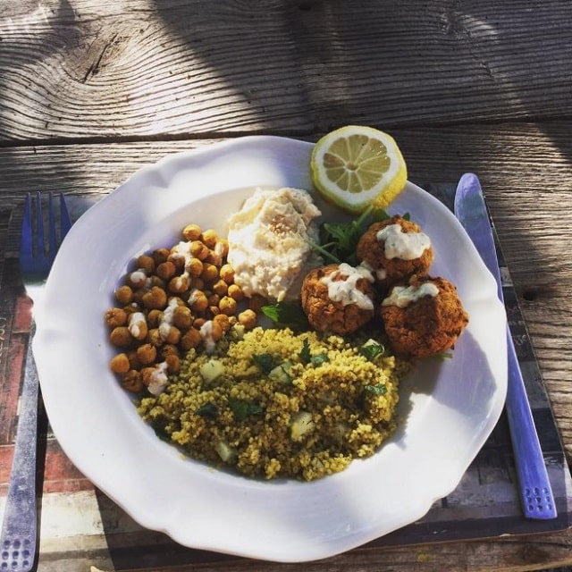 Couscous Bowl with Roasted Chickpeas, Falafels, Hummus & Garlic Dill Dressing