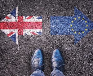 Brexit image of two arrows facing away from each other one British flag and one European