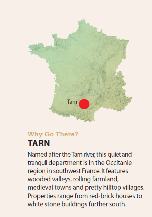Map of France and where Tarn is located