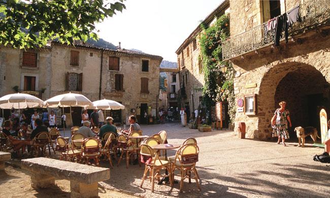 The lovely main square of Saint-Guilhemle-Désert, a fortfied village