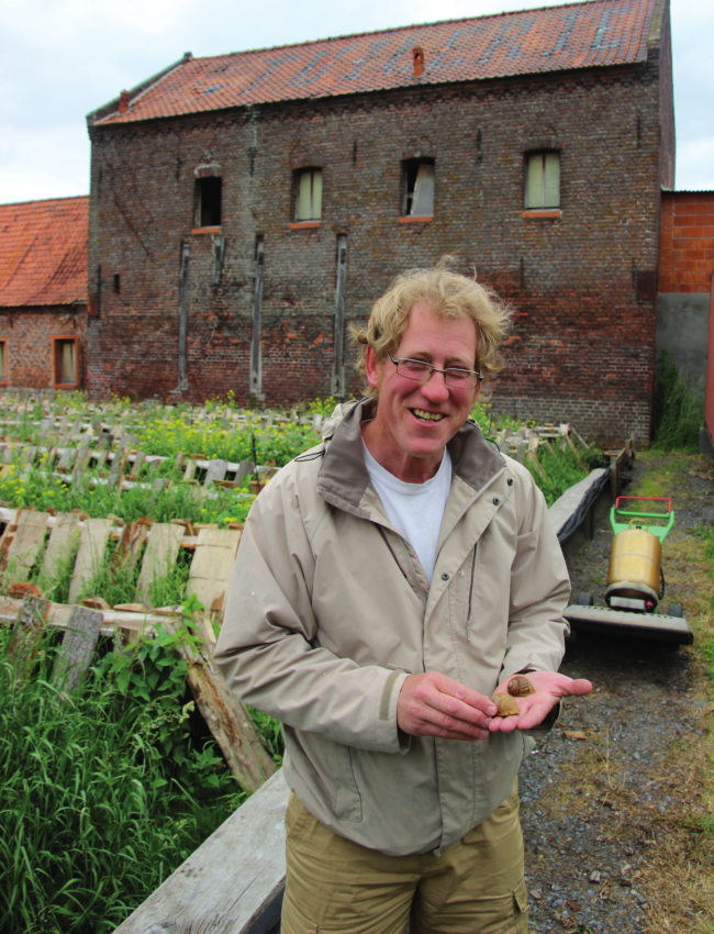 British expat farmer with his snails