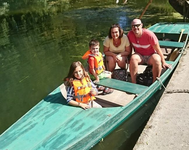 Family on a boat in France