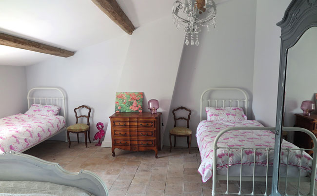 Peter and Claire's bedroom with 2 single beds in in Languedoc