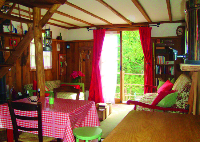 interior of a cabin in the woods