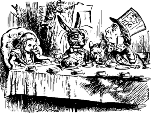 illustration of the characters in Alice in wonderland sat around the table