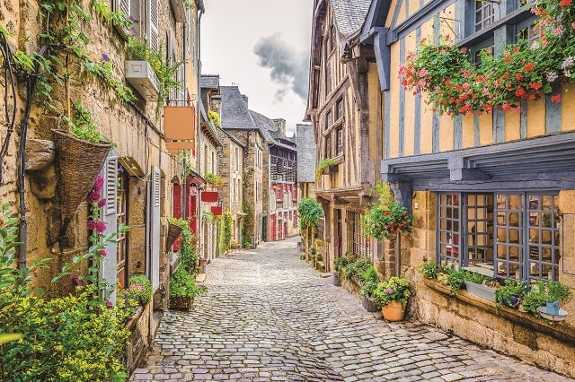 characterful town street in France