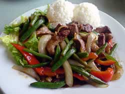 Stir Fried Beef with French Beans and Chard