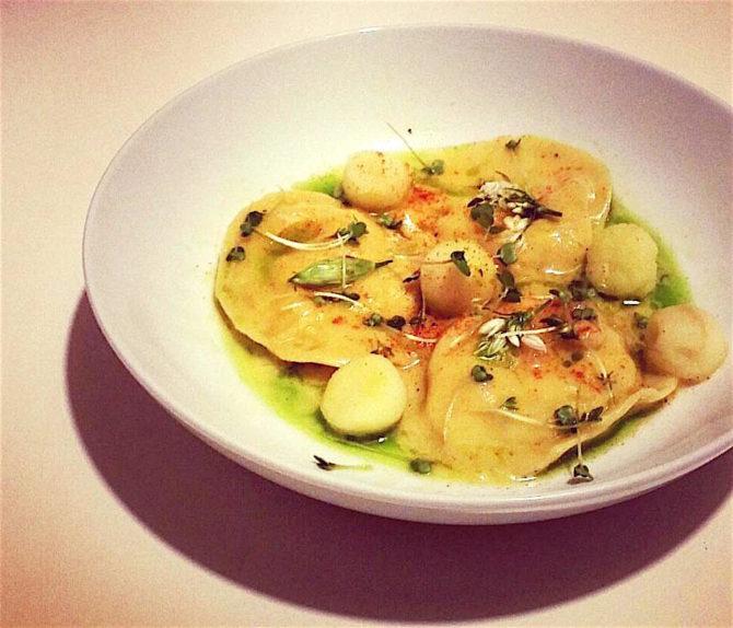 Crab ravioli with lemon mascarpone sauce by Masterchef contestant Annie McKenzie