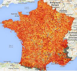 Broadband ADSL availability in France