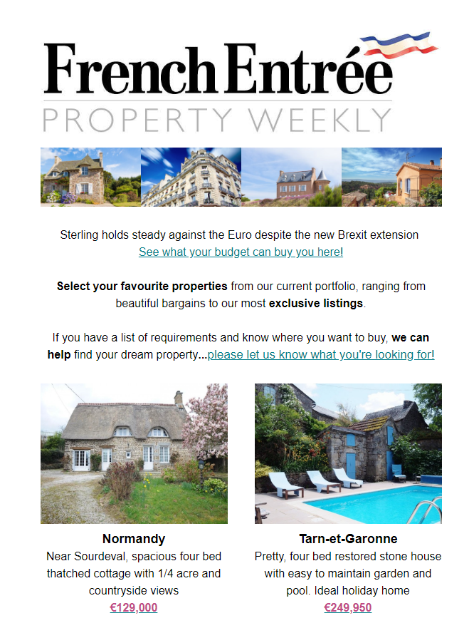 FrenchEntrée Property Weekly newsletter