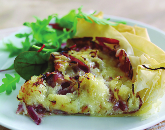French Emmental & Roscoff onion tart with a beurre blanc sauce