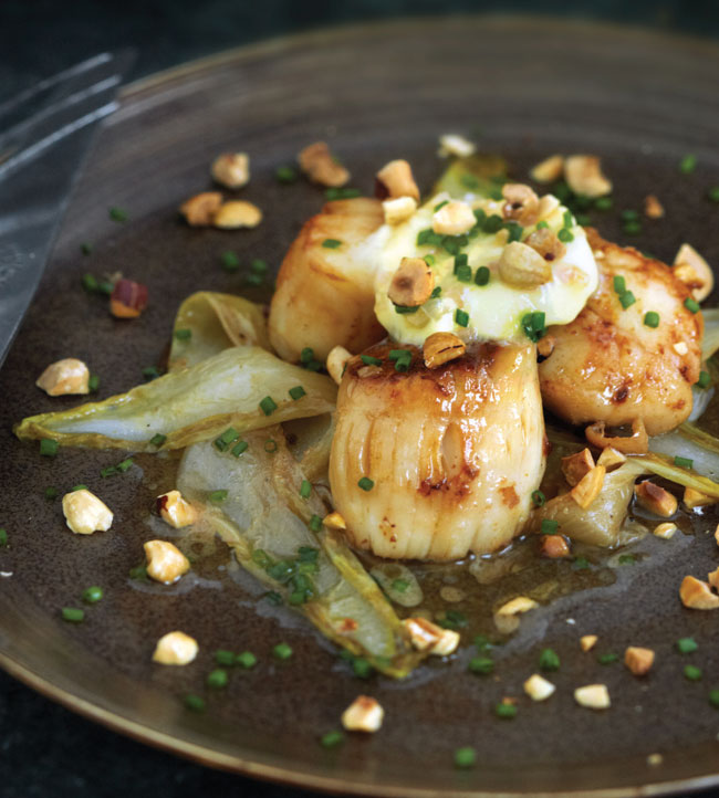Sautéed scallops with wilted endive, hazelnuts and Sauternes butter
