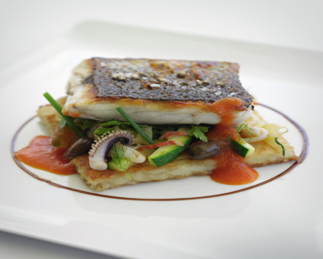 Grilled sea bass with ratatouille