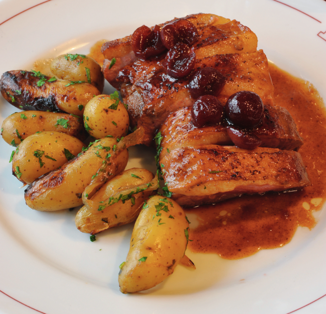 Duck Breast with Morello Cherries and Roasted Baby Potatoes
