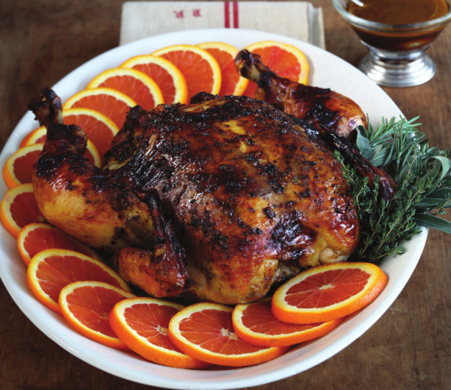 Succulent Roast Chicken with Oranges and Black Olives