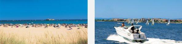 Cap d'Agde Beach © J.C. Meauxsoone - Motor boat off Cap d'Agde © Rey