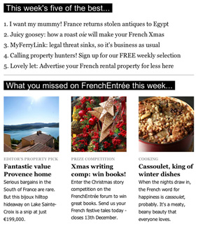 Screenshot of the weekly Francophile fix