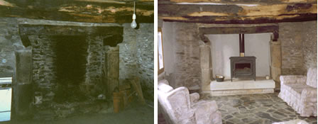 The fireplace before and after