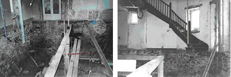 Some pictures to make your hair curl.  These were taken by the neighbours showing the floor removed and the stairs hanging in mid-air!