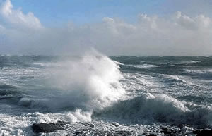 Crashing waves to represent french tide times