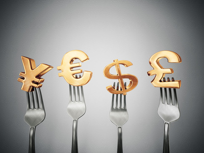 Currency symbols on a fork